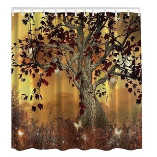 "Vinyl Shower Curtain with Hooks Tree 71"" x 71"""