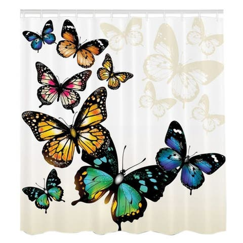 """Vinyl Shower Curtain with Hooks Butterfly 71"""" x 71"""""""