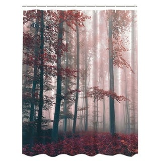 "Vinyl Shower Curtain with Hooks Red Leaves 71"" x 71"""
