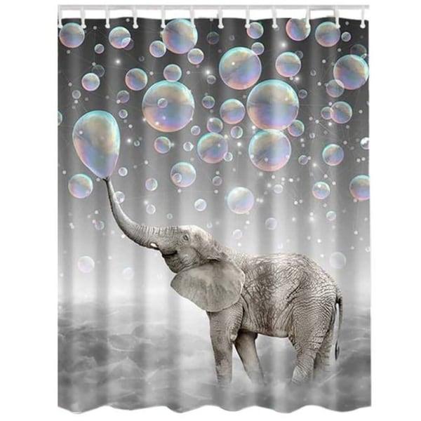 "Vinyl Shower Curtain with Hooks Elephant D 71"" x 71"""