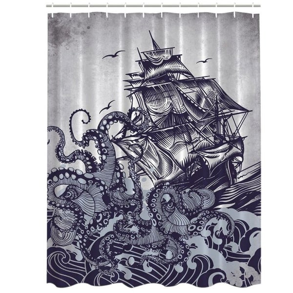Shop Vinyl Shower Curtain With Hooks Octopus 2 71 X
