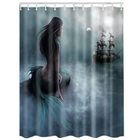 "Vinyl Shower Curtain with Hooks Beauty 71"" x 71"""