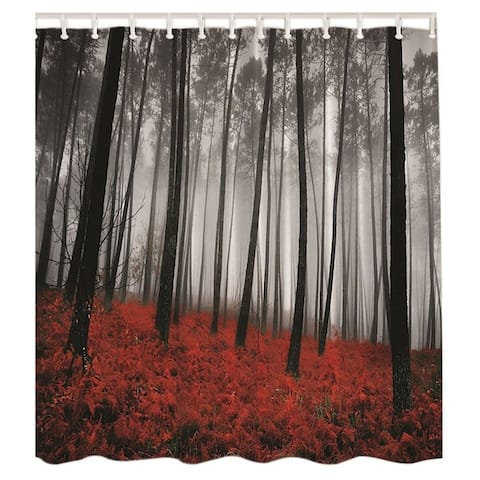 """Vinyl Shower Curtain with Hooks Forest 71"""" x 71"""""""