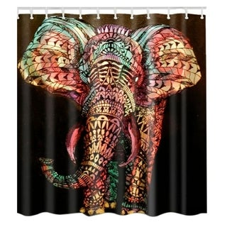 "Vinyl Shower Curtain with Hooks Elephant A 71"" x 71"""