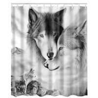 """Vinyl Shower Curtain with Hooks Wolf 71"""" x 71"""""""