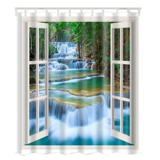 """Vinyl Shower Curtain with Hooks Waterfall 71"""" x 71"""""""