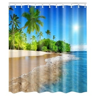 "Vinyl Shower Curtain with Hooks Beach 71"" x 71"""