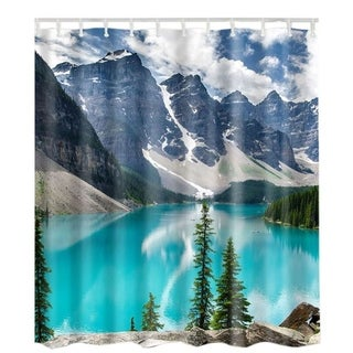 "Vinyl Shower Curtain with Hooks Lake 71"" x 71"""