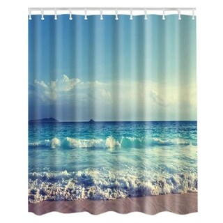 "Vinyl Shower Curtain with Hooks Waves 71"" x 71"""