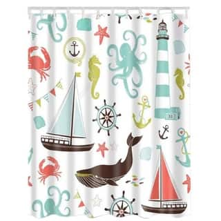 """Vinyl Shower Curtain with Hooks Octopus #8 71"""" x 71"""""""
