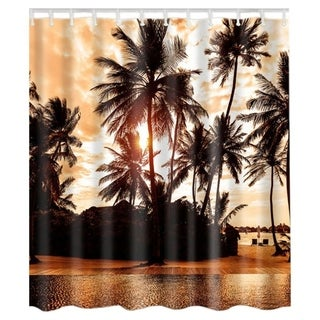 """Vinyl Shower Curtain with Hooks Palm Tree 71"""" x 71"""""""