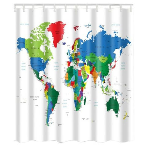 """Vinyl Shower Curtain with Hooks World Map 71"""" x 71"""""""