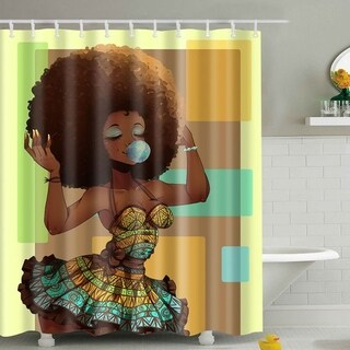 "Vinyl Shower Curtain with Hooks Girl 71"" x 71"""