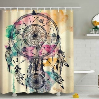 "Vinyl Shower Curtain with Hooks Dream Catcher A 71"" x 71"""