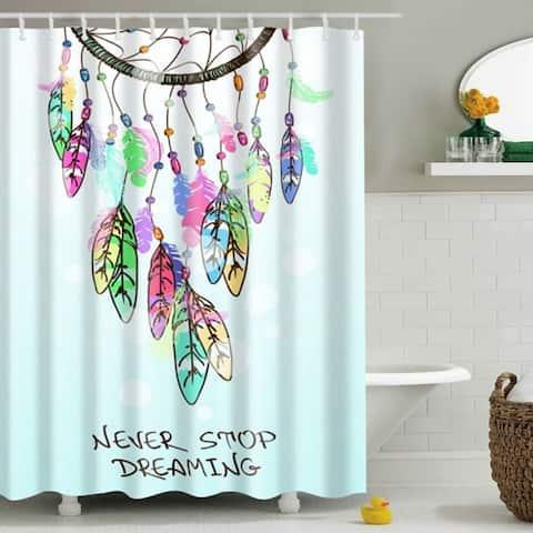 "Vinyl Shower Curtain with Hooks Dream Catcher B 71"" x 71"""