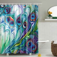 """Vinyl Shower Curtain with Hooks Feather 71"""" x 71"""""""