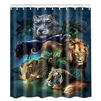 """Vinyl Shower Curtain with Hooks Tiger 71"""" x 71"""""""