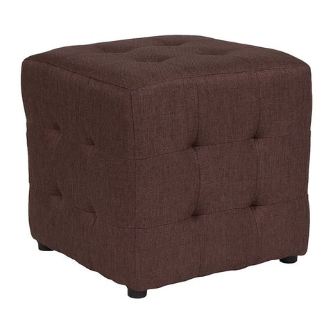 Offex Avendale Tufted Upholstered Ottoman Pouf in Brown Fabric