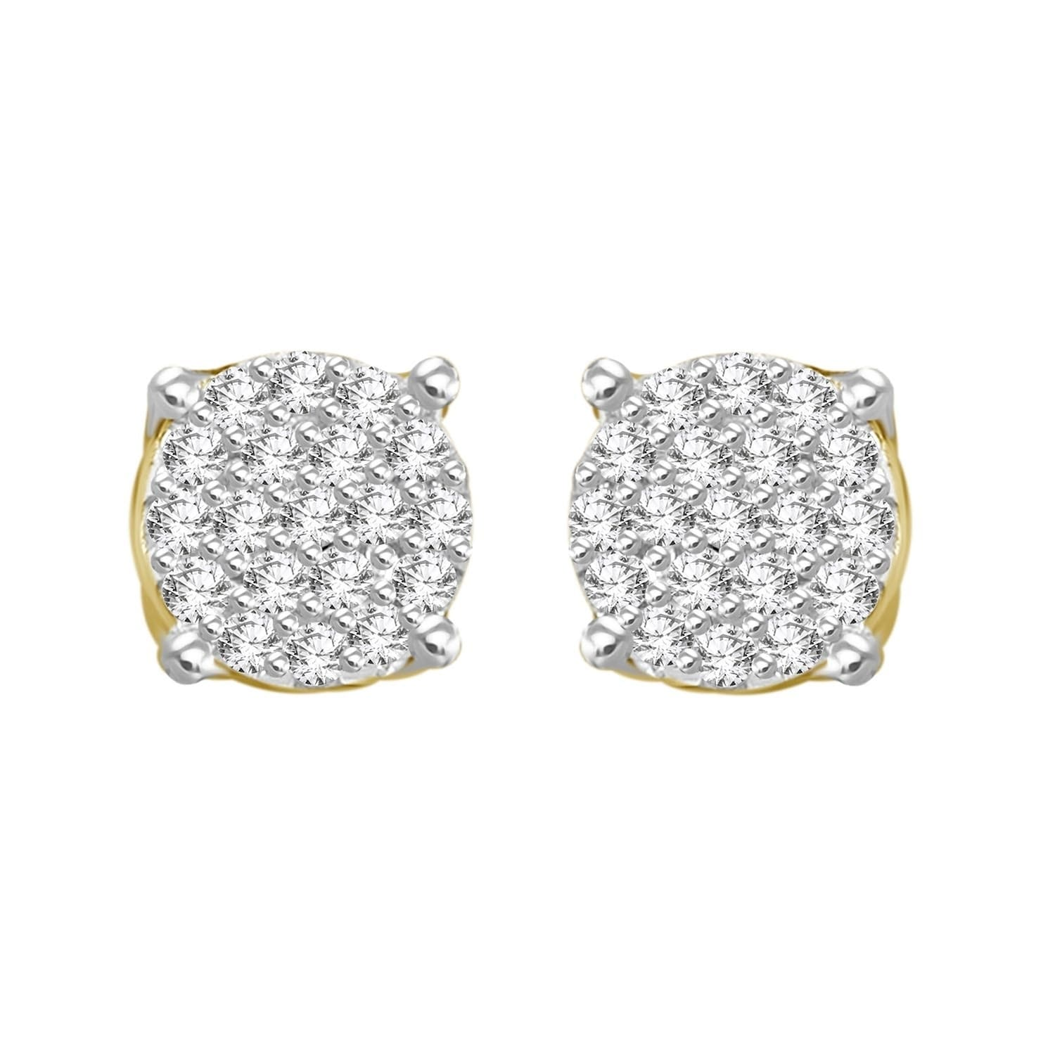 21bbd0e5a 1/6 cttw Round Natural Diamond Round Shape Stud Ladies Earrings ...