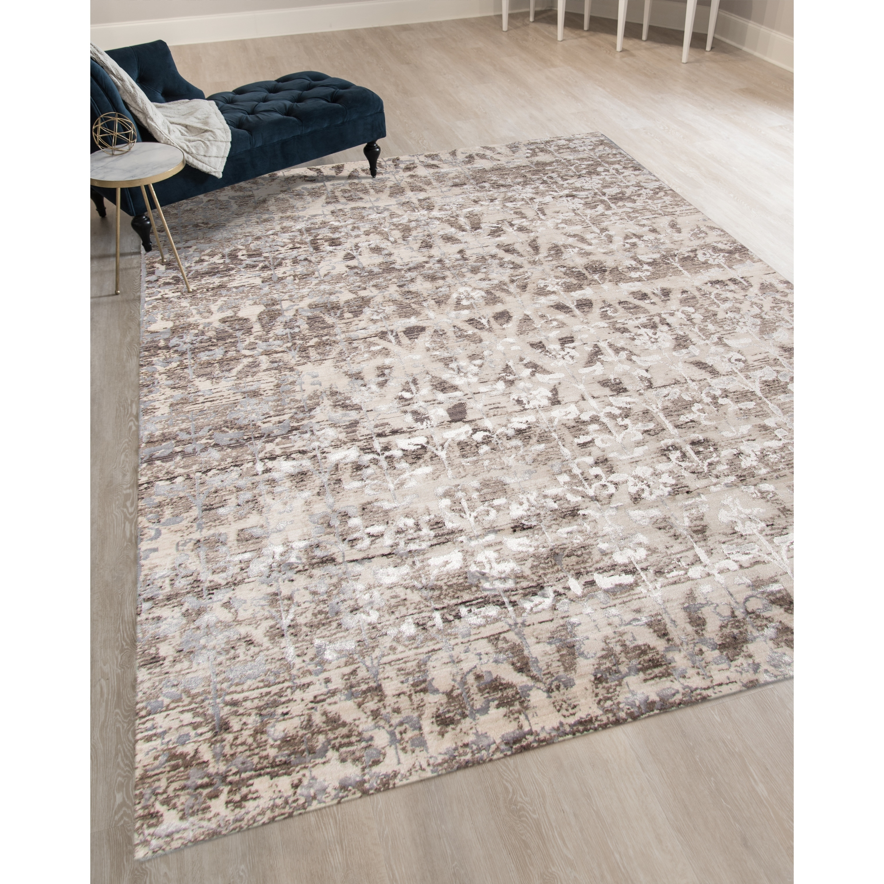 Silver Metallic Geometric Area Rug