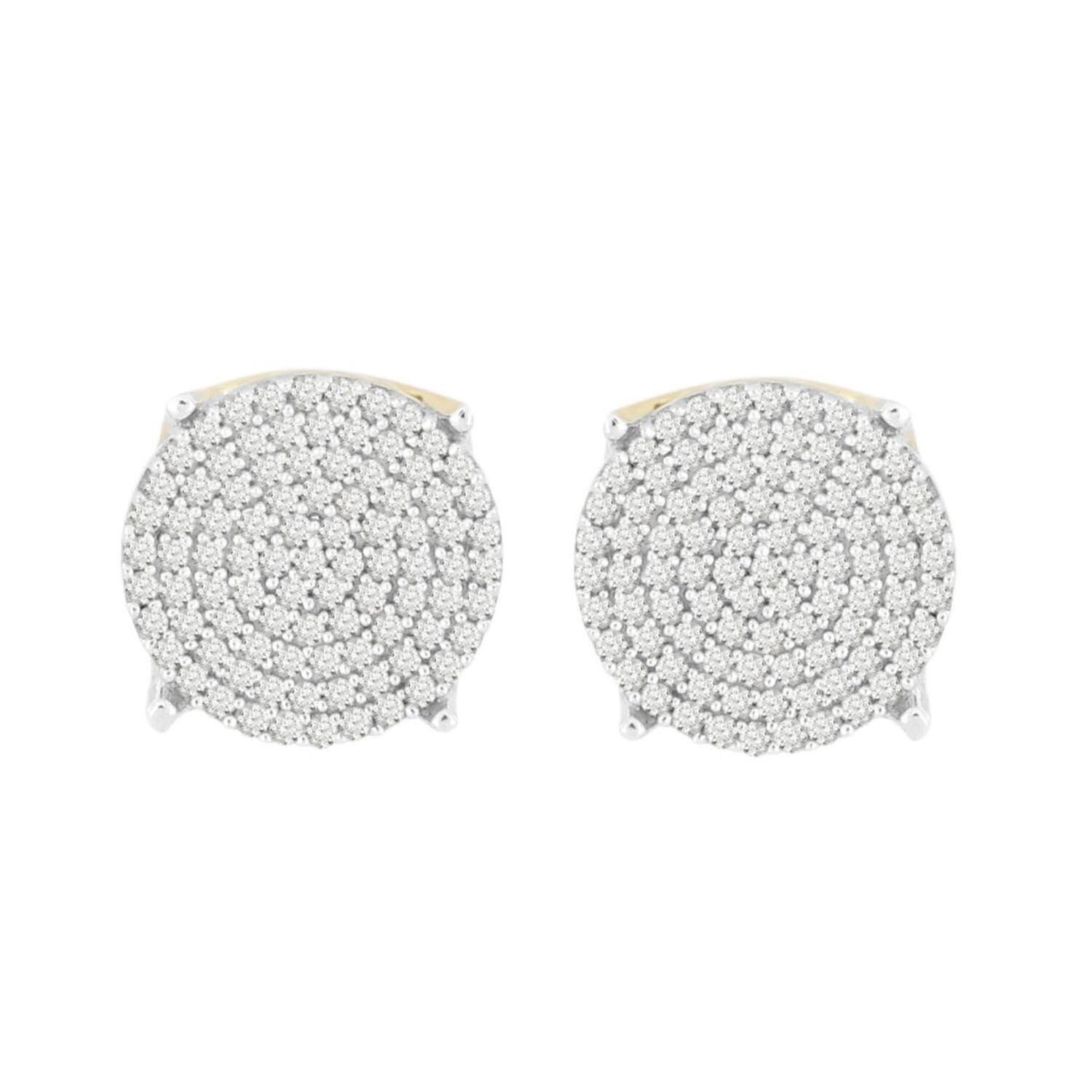 4c483647e 1/2 cttw Round Natural Diamond Round Shape Unisex Stud Earrings 10K Yellow  Gold