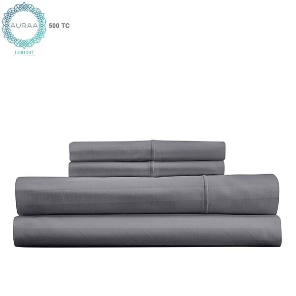 AURAA Comfort Luxury 500 Thread Count Pima Blend Long Staple Cotton Stripe Sheet Set