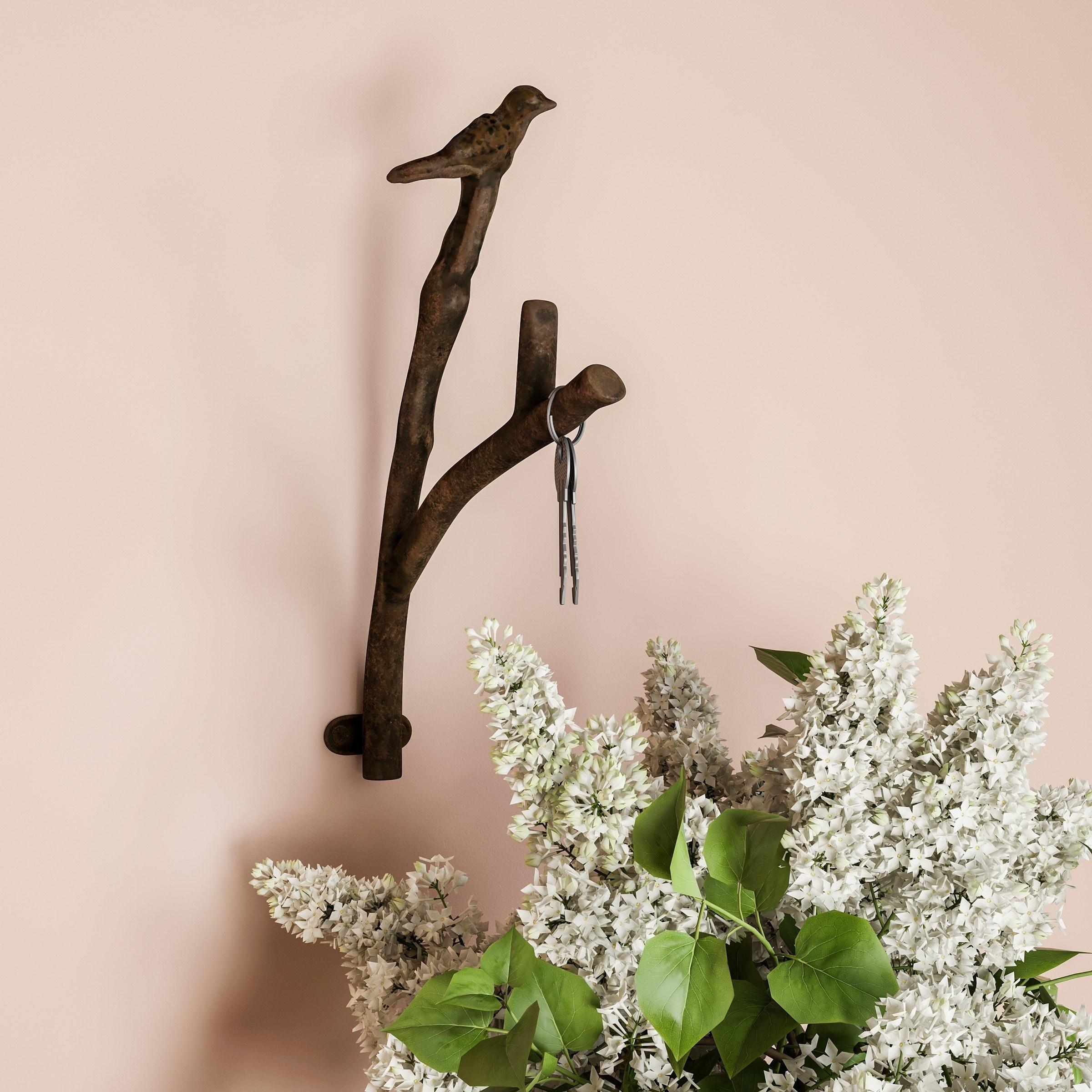 Decorative Bird On Tree Branch Hook Cast Iron Shabby Chic Rustic Wall Mount Hooks Lavish Home Overstock 22971319