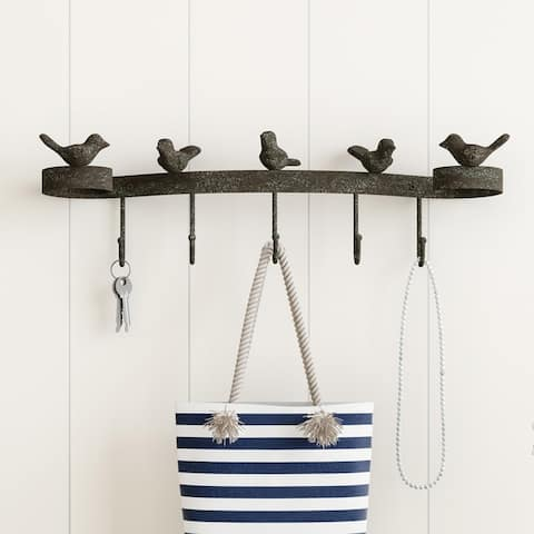 Decorative Birds on Ribbon Hook-Cast Iron Shabby Chic Rustic Wall Mount Hooks by Lavish Home