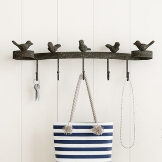 Decorative Birds on Ribbon Hook-Cast Iron Shabby Chic Rustic Wall Mount Hooks by Lavish Home
