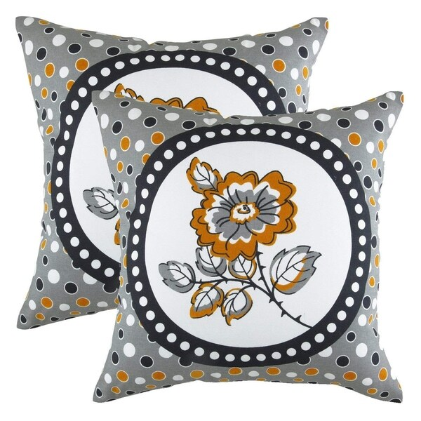 Polka Floral Accent Decorative Pillowcases White Background