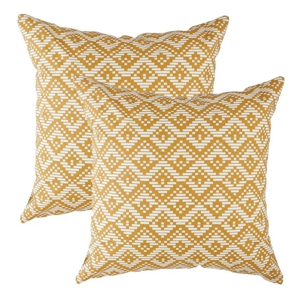 Geotile Accent Decorative Pillowcases Mustard