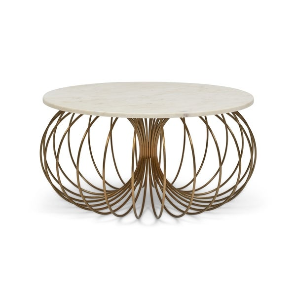 Antique White Marble Coffee Table: Shop Coco Antique Brass Stainless Steel And White Marble