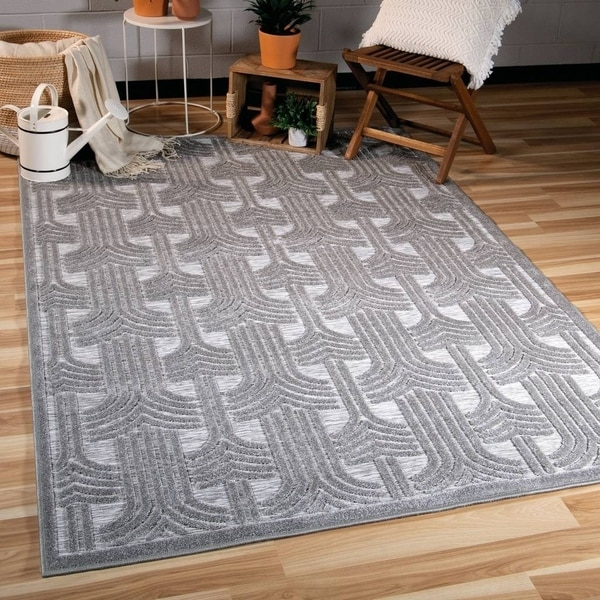 Orian Rugs Boucle Indoor/Outdoor Grand Theatre Silvertone Area Rug - 5'2 x 7'6
