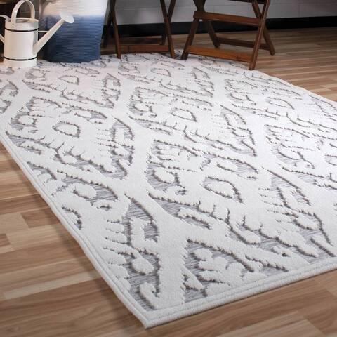 "Orian Rugs Boucle Indoor/Outdoor Salvador Natural Grey Area Rug - 5'2"" x 7'6"""