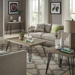 Krew Mid-Century Modern Light Wood and Metal Table Collection by iNSPIRE Q Modern