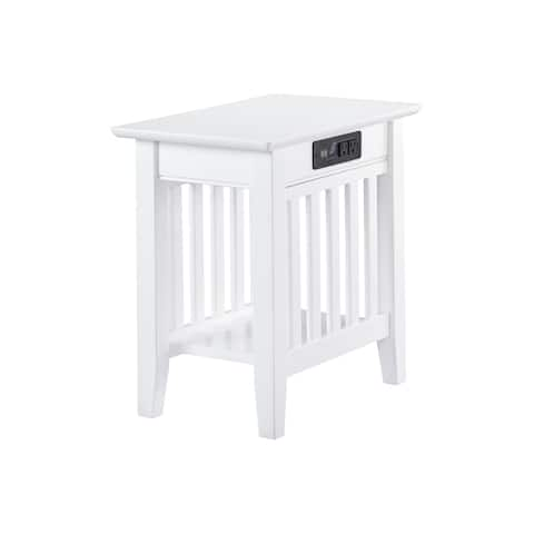 Mission Chair Side Table with Charger Station in White