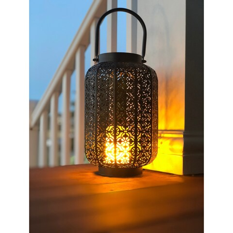 Wildfire Indoor/Outdoor Metal Lantern with LED Simulated Fire Base