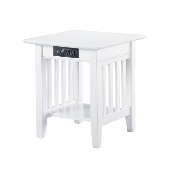 Mission End Table with Charging Station in White