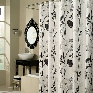 """Polyester Fabric Black and White Shower Curtain 70"""" x 72"""""""