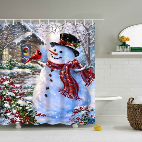 "Vinyl Shower Curtain with Hooks Christmas Snowman A 71"" x 71"""