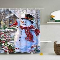 Vinyl Shower Curtain With Hooks Christmas Snowman A 71