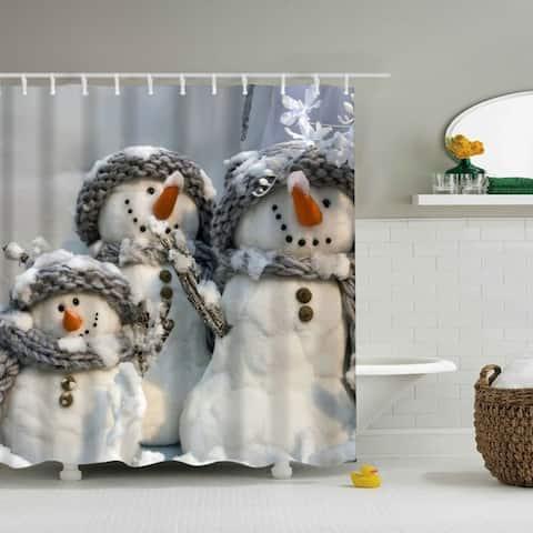 "Vinyl Shower Curtain with Hooks Christmas Snowman C 71"" x 71"""