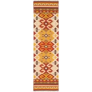 ECARPETGALLERY Flat-weave Izmir FW Cream, Dark Burgundy Wool Kilim - 2'8 x 9'7