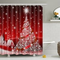 "Vinyl Shower Curtain with Hooks Bling Bling Christmas 71"" x 71"""