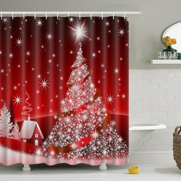 Shop Vinyl Shower Curtain With Hooks Bling Christmas 71 X