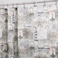 "Polyester Fabric Antique Paris Map Shower Curtain 70"" x 72"""