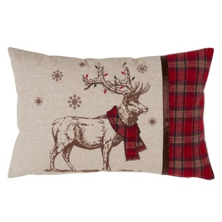 Festive Reindeer And Plaid Design Down Filled Throw Pillow