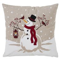 Happy Snowman Design Down Filled Throw Pillow