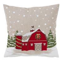 Christmas Barn Design Down Filled Throw Pillow