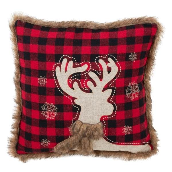 Shop Faux Fur Trimmed Reindeer And Plaid Down Filled Throw